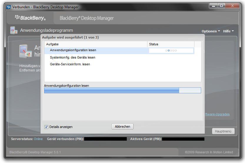 Anwendungen mit dem BlackBerry Desktop Manager installieren