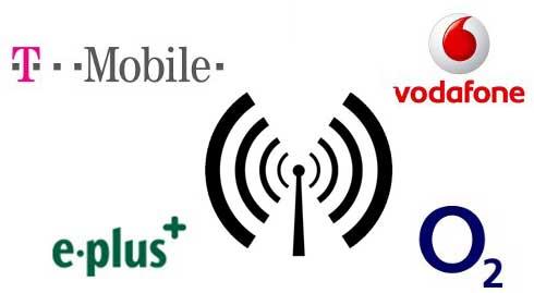 Übersicht der Netzabdeckung (EDGE/UMTS) deutscher Mobilfunkanbieter